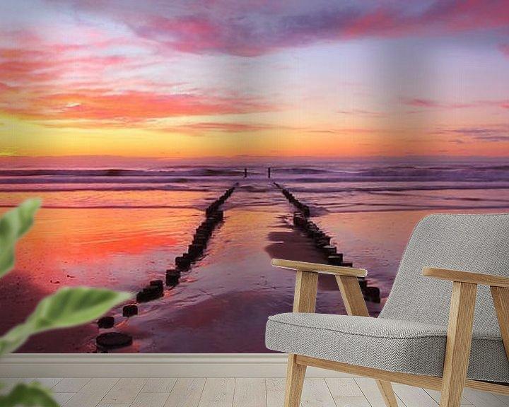 Sfeerimpressie behang: Fire Beach van Joris Beudel