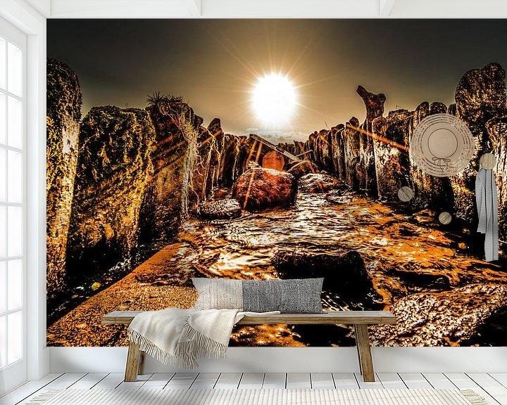 Sfeerimpressie behang: Golfbreker van Harrie Muis
