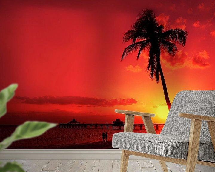Sfeerimpressie behang: Romantische zonsondergang van Melanie Viola