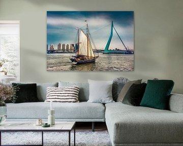 Zeilboot voor de Erasmusbrug van Harrie Muis