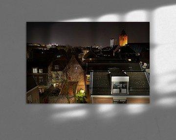 Stadssilhouet van Utrecht bij avond. van Margreet van Beusichem