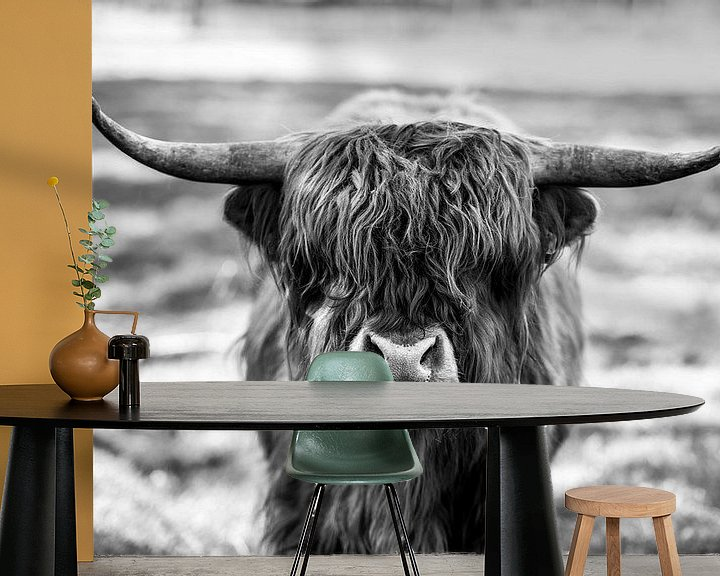 Sfeerimpressie behang: Schotse Hooglander, Scottish Highlander van Nathalie Bauland