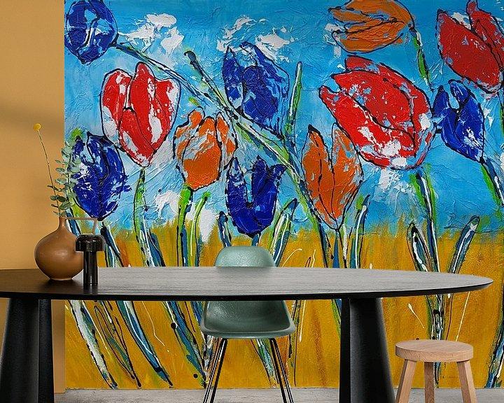 Sfeerimpressie behang: Tulpen (ik hou van Holland) van Femke van der Tak (fem-paintings)