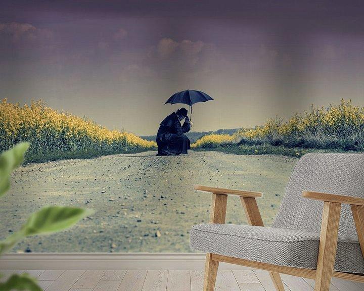 Sfeerimpressie behang: zittend op het koolzaad pad van marleen brauers