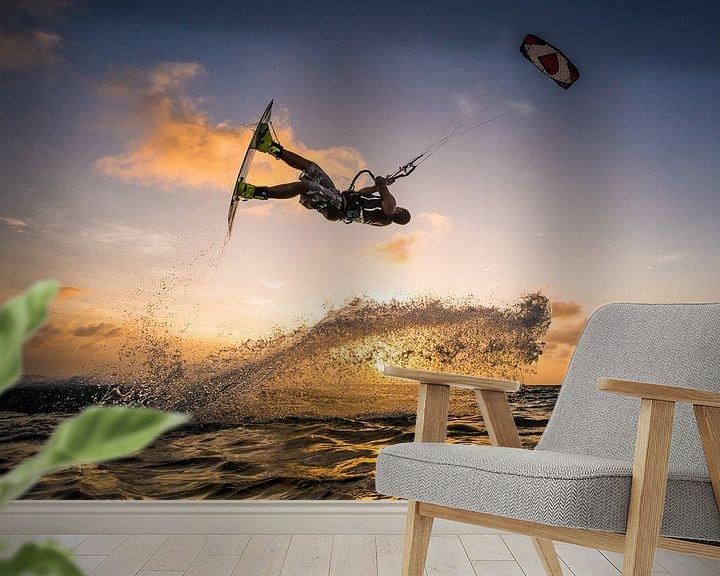 Sfeerimpressie behang: Kitesurfen Bonaire van Andy Troy