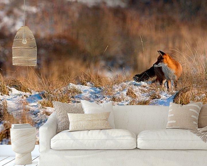 Sfeerimpressie behang: Vos in de sneeuw panorama van Anton de Zeeuw