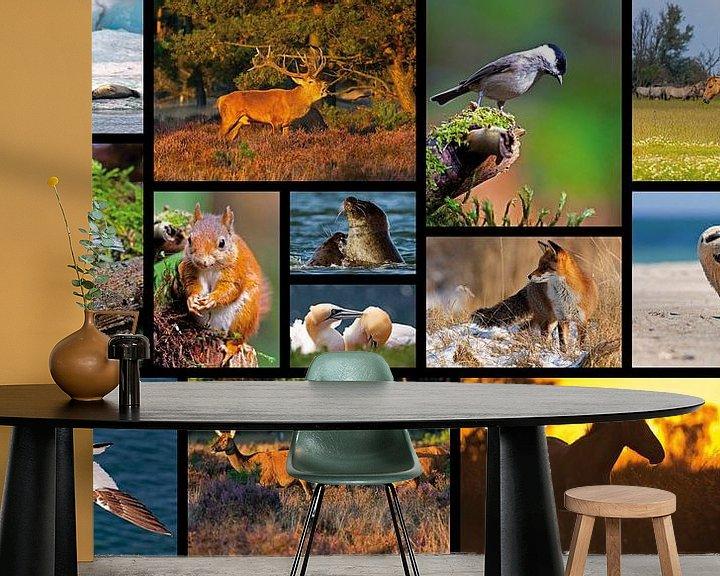 Sfeerimpressie behang: Collage dieren van Anton de Zeeuw