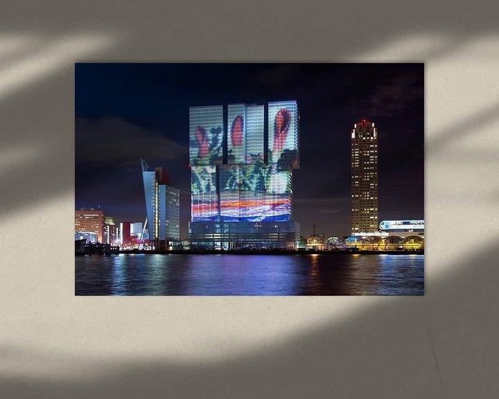 Sfeerimpressie: Lichtshow geprojecteerd op De Rotterdam van Anton de Zeeuw