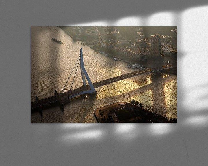 Sfeerimpressie: Erasmusbrug vanuit de lucht gezien te Rotterdam van Anton de Zeeuw