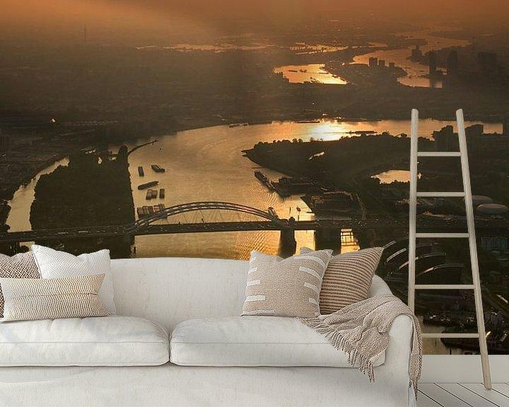 Sfeerimpressie behang: Van Brienenoordbrug vanuit de lucht gezien van Anton de Zeeuw