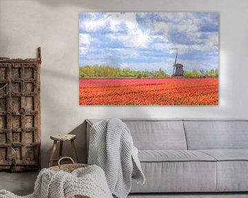 Molen tussen de rode tulpen digital art van eric van der eijk
