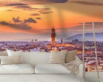 skyline Florence at night I van Teun Ruijters