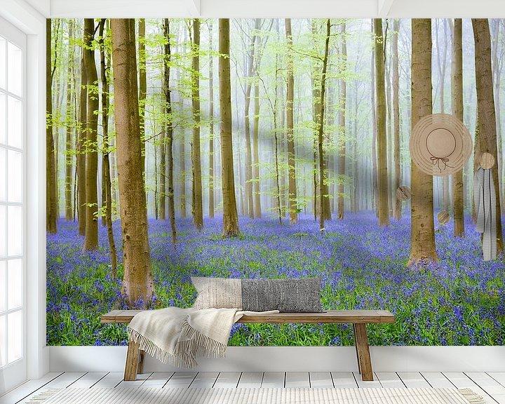 Beispiel fototapete: Blauglockenhügel in einem Buchenwald an einem Frühlingsmorgen von Sjoerd van der Wal