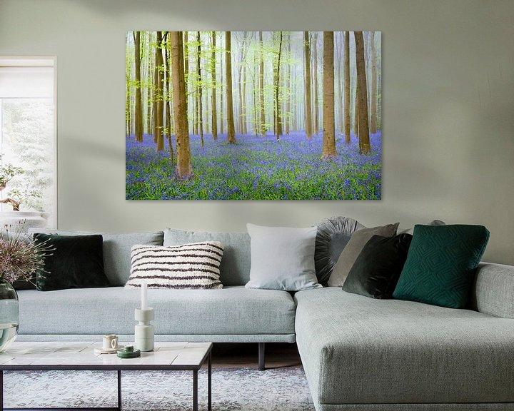 Beispiel: Blauglockenhügel in einem Buchenwald an einem Frühlingsmorgen von Sjoerd van der Wal