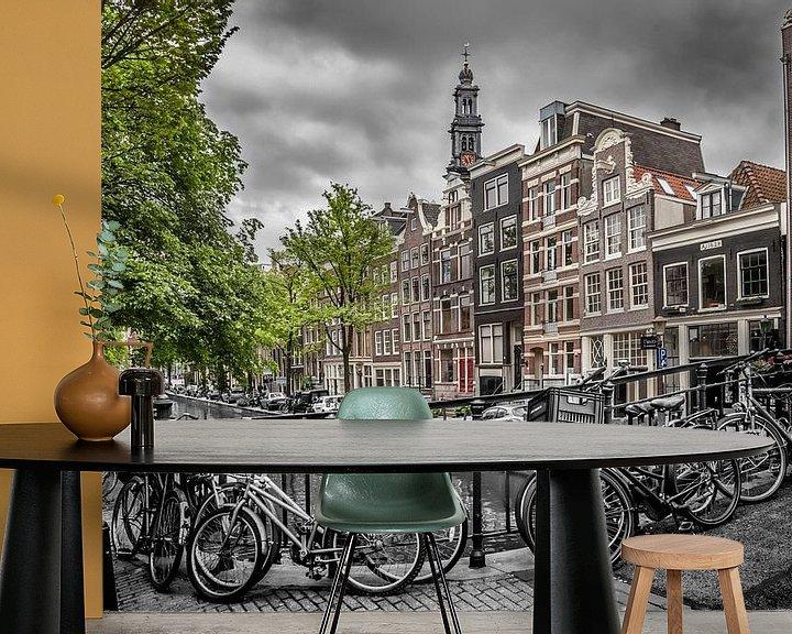 Sfeerimpressie behang: Bloemgracht Amsterdam van Melanie Viola