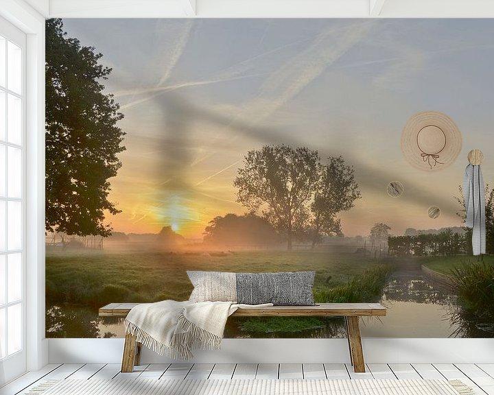 Sfeerimpressie behang: Kortenhoef tijdens zonsopkomst van Pierre Timmermans