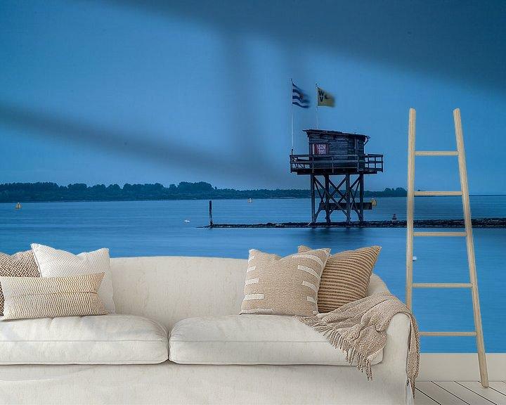Sfeerimpressie behang: flags by house on waterside van jan koelewijn fotografie
