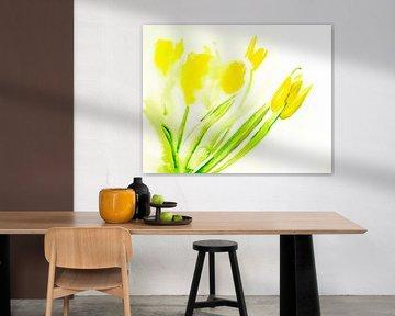 yellow tulips van M.A. Ziehr