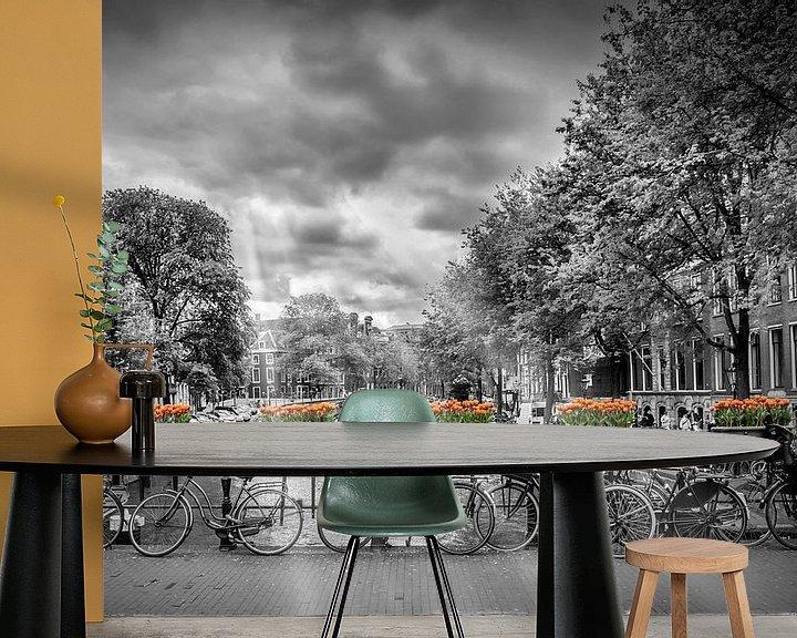 Sfeerimpressie behang: Herengracht Amsterdam van Melanie Viola