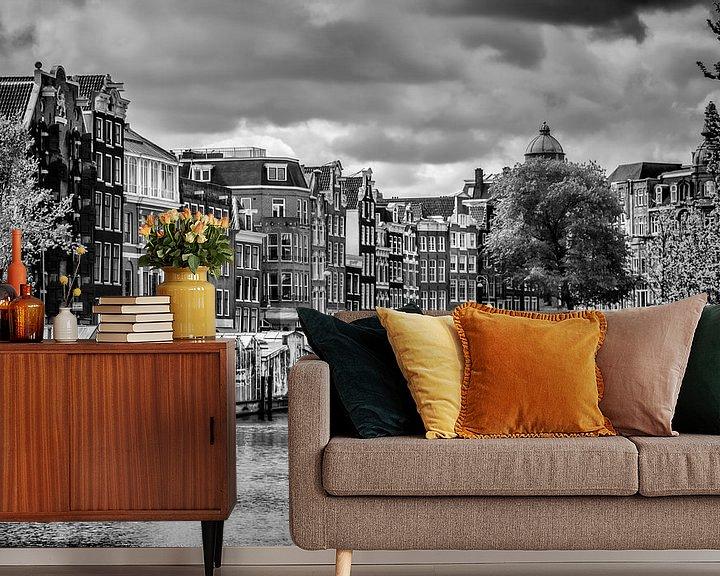 Sfeerimpressie behang: Bloemenmarkt Amsterdam van Melanie Viola