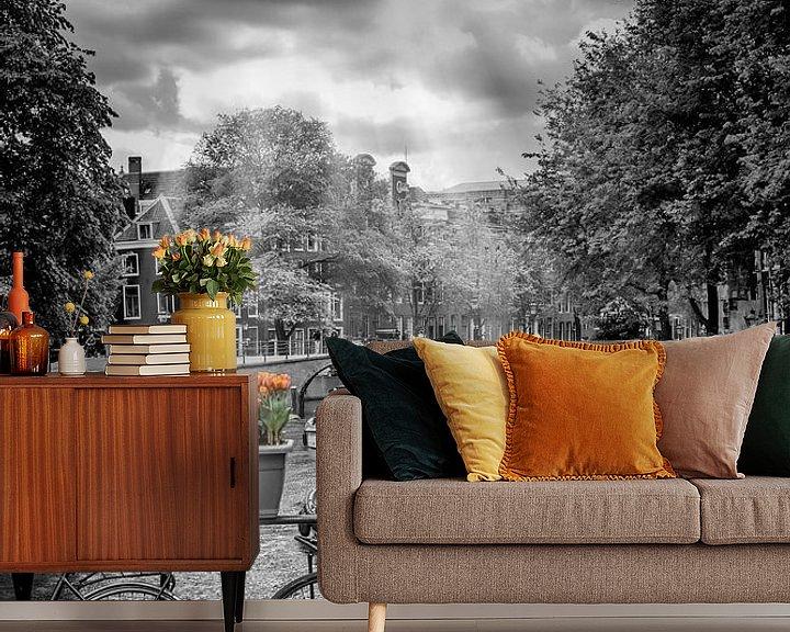 Sfeerimpressie behang: Typisch Amsterdam van Melanie Viola